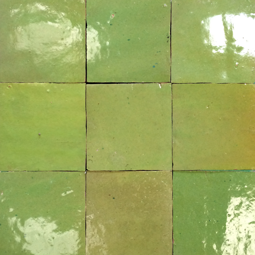 no.13 light green glazed terracotta tile - Handmade Tiles // Margate
