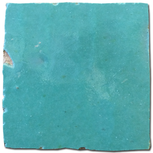 no.16 blue / green glazed terracotta tile - IN STOCK - Handmade Tiles // Margate
