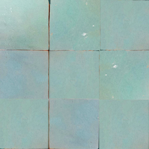 no.17 light blue / green glazed terracotta tile - Handmade Tiles // Margate