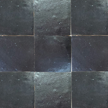 no.27 dark grey / black glazed terracotta tile - IN STOCK - Handmade Tiles // Margate