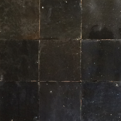 no.28 black glazed terracotta tile - Handmade Tiles // Margate