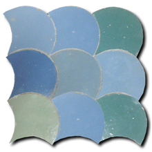 multi-colour fish scale panel - IN STOCK - Handmade Tiles // Margate