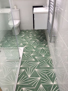 contemporary green / white hexagonal concrete tile - Handmade Tiles // Margate