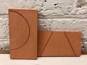 natural finish terracotta inlaid with circle - Margate Tile Works