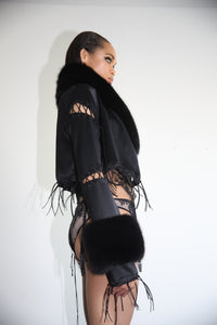 """NICKI"" fox trimmed robe jacket"