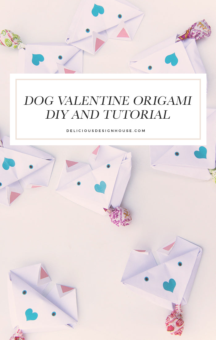 Origami Dog Valentines that have a sweet treat attached!  These are super easy to do and a lot of fun for your little one.  We have included a free printable origami dog valentine template to use as well as a video tutorial.  These are such cute origami pups! / deliciousdesignhouse.com