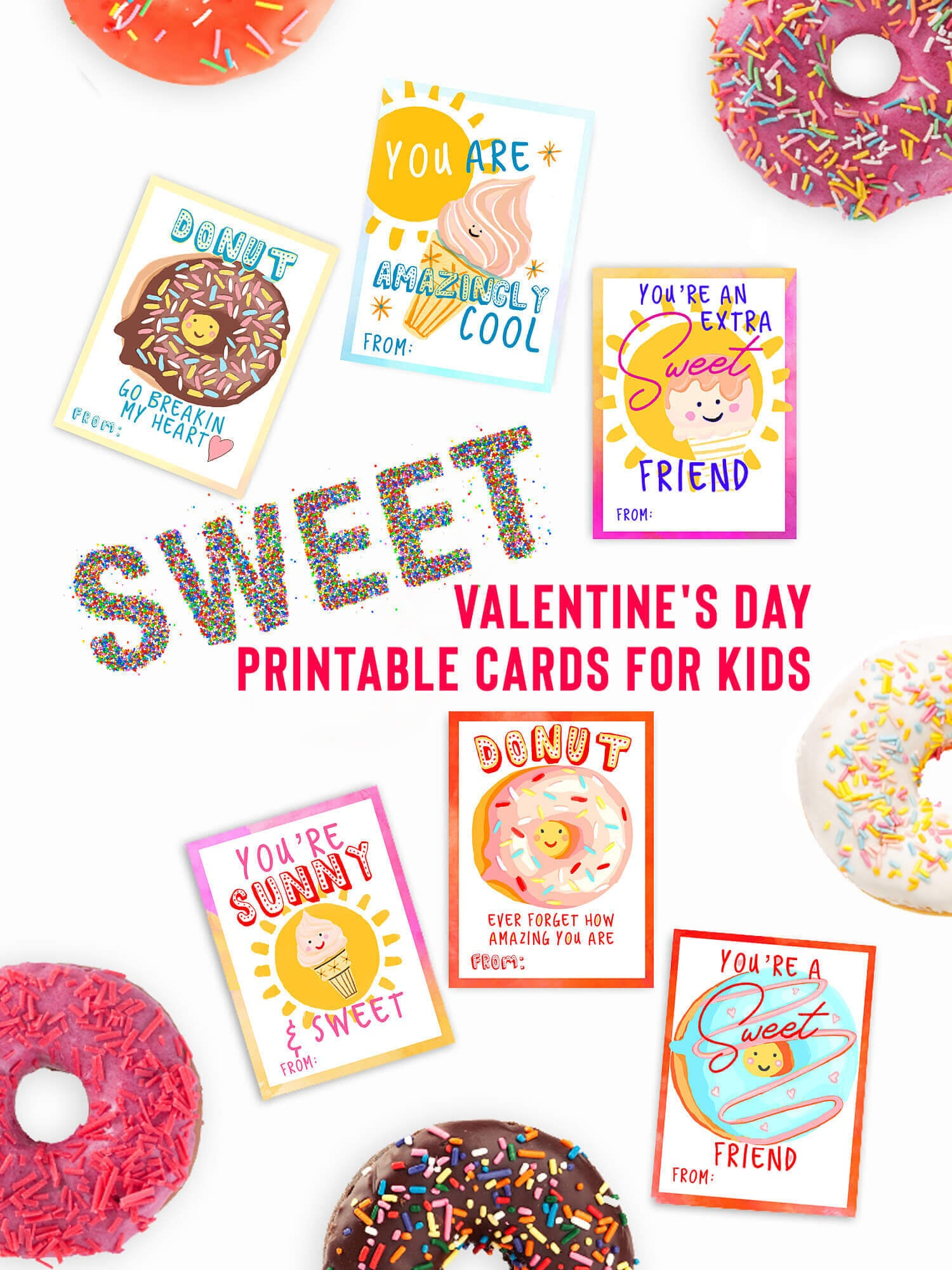 Download Free Ice Cream Donut Valentines Day Cards