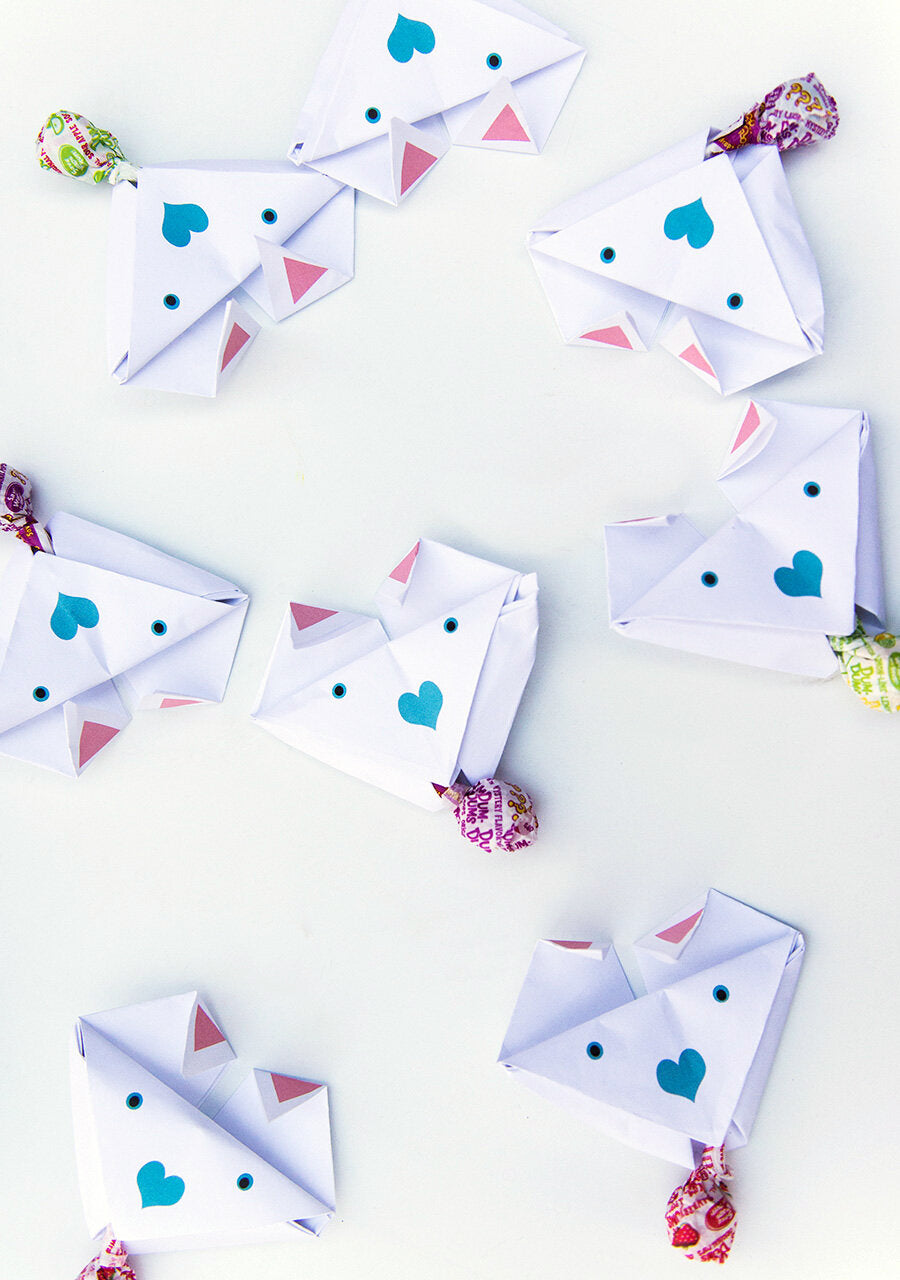 Origami Dog Valentines Easy Origami Kids Project for Valentine's Day — add a lollipop