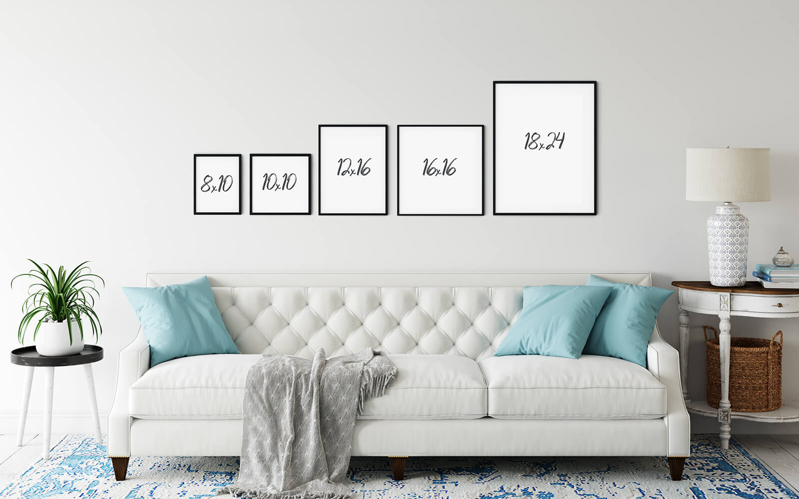 Print Sizes Above a Couch Visual Size Guide