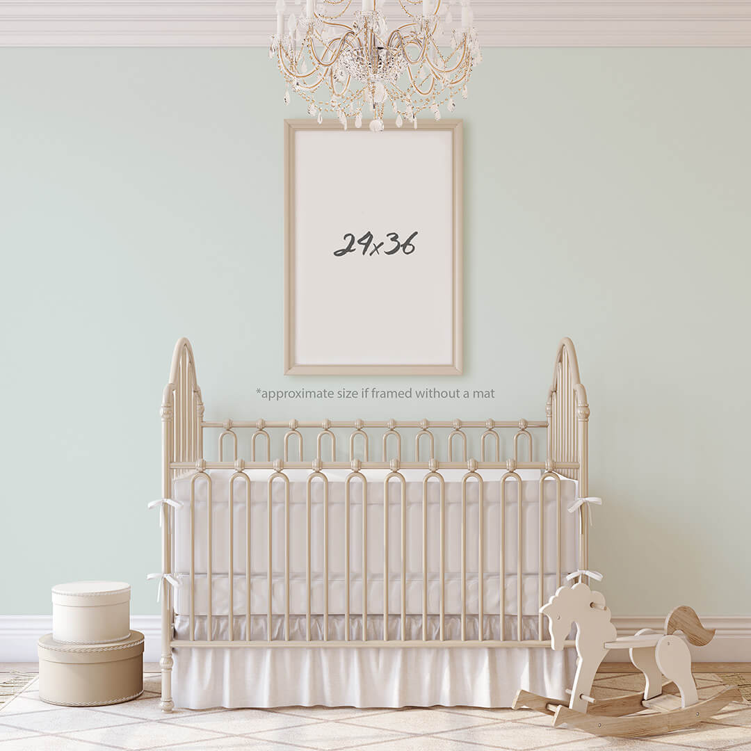 24x36 Print Size in a nursery — Delicious Design House Print Size Visual Guide