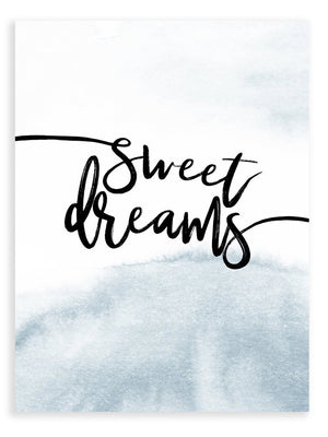 Sweet Dreams Grey Blue Print - Delicious Design House
