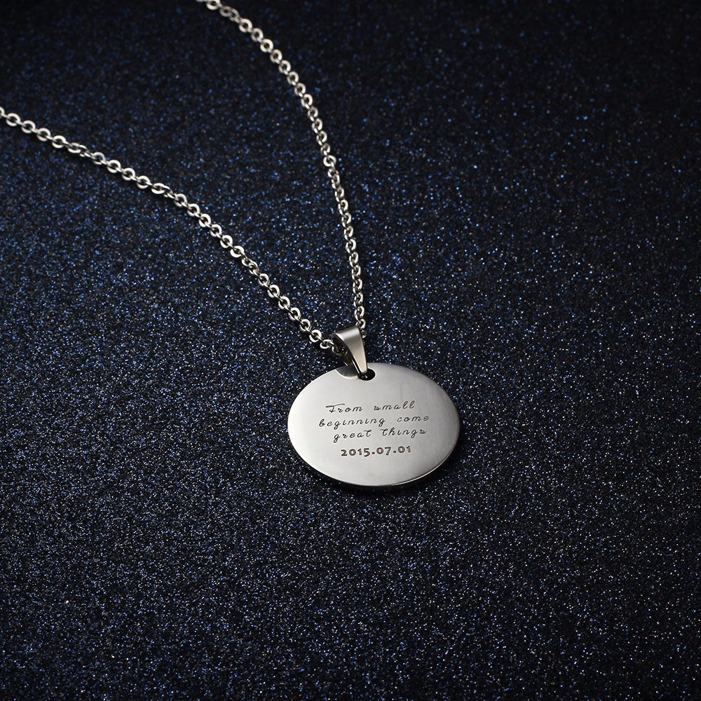 personalized engraved picture necklace stainless steal necklace