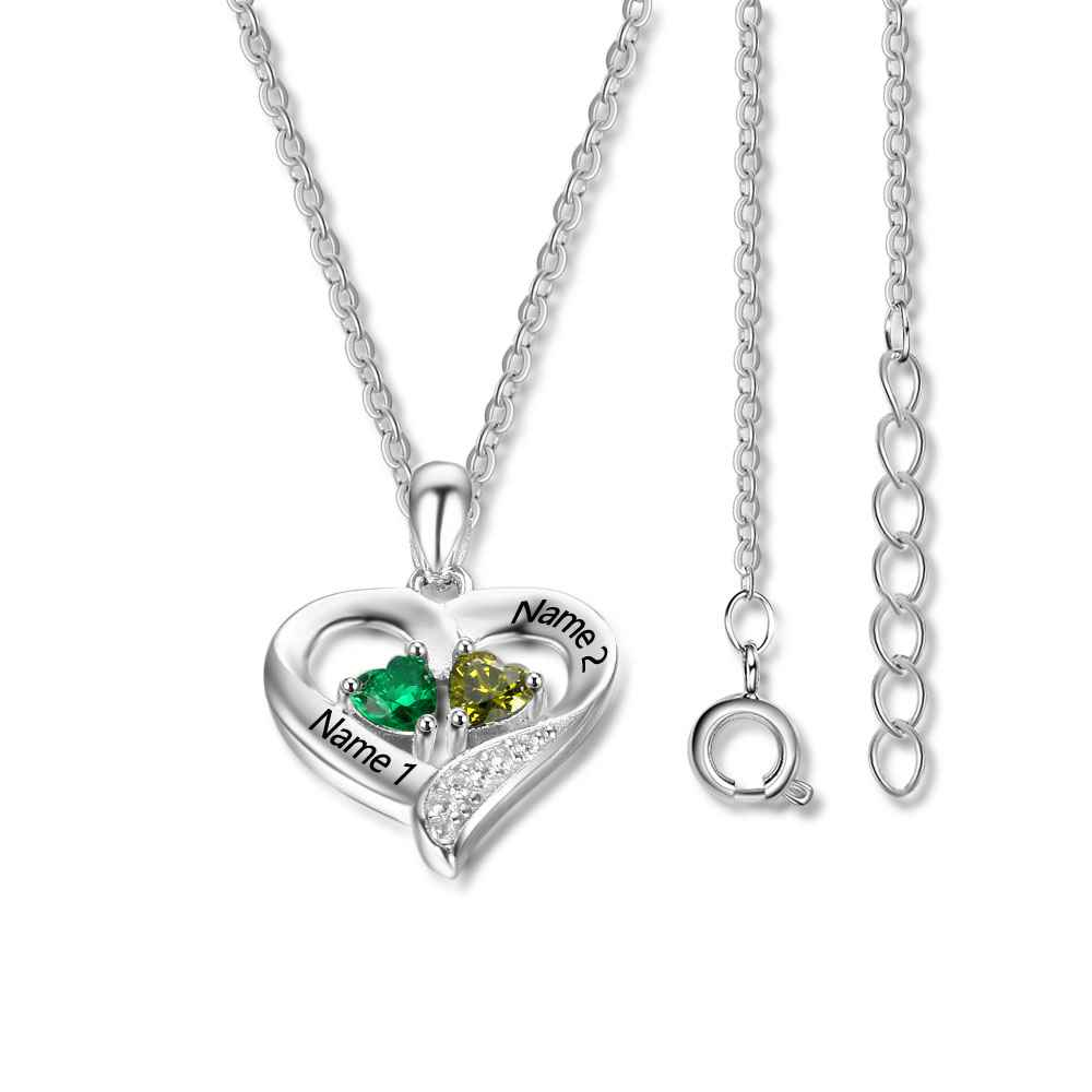 Personalized 925 Sterling Silver 2 Birthstone Necklace Pendants ...
