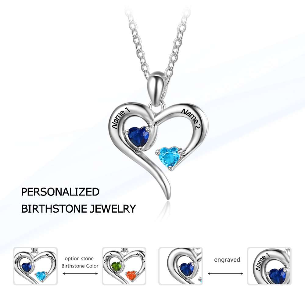 Personalized 925 sterling silver 2 birthstone necklace pendants personalized 925 sterling silver 2 birthstone necklace pendants engraved heart birthstones jewelry custom necklace aloadofball Images