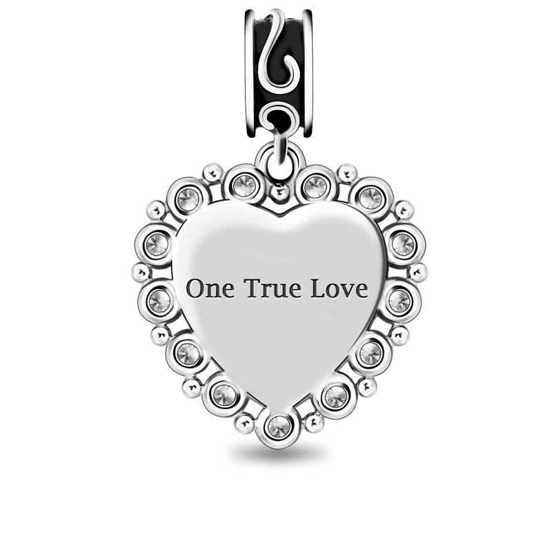 personalized heart photo charm with crystal fit engraved charms