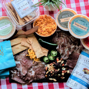 Birdie's Pimento Cheese - Charcuterie Collection - Capocollo - tubs of cheese = fruit and nut mix