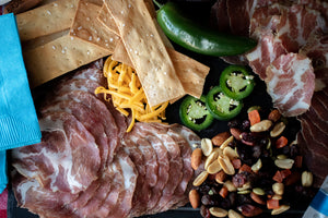 Birdie's Pimento Cheese - Charcuterie Collection - Capocollo - tubs of cheese - fruit and nut mix