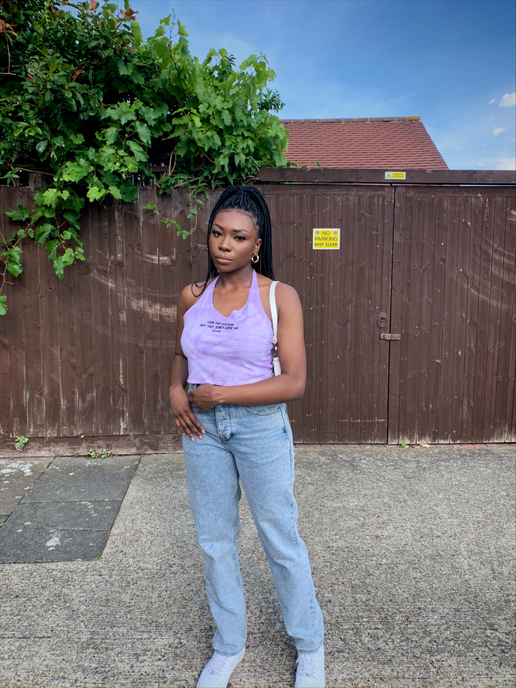 Lilac Tie Dye 'Love the Culture' Halterneck
