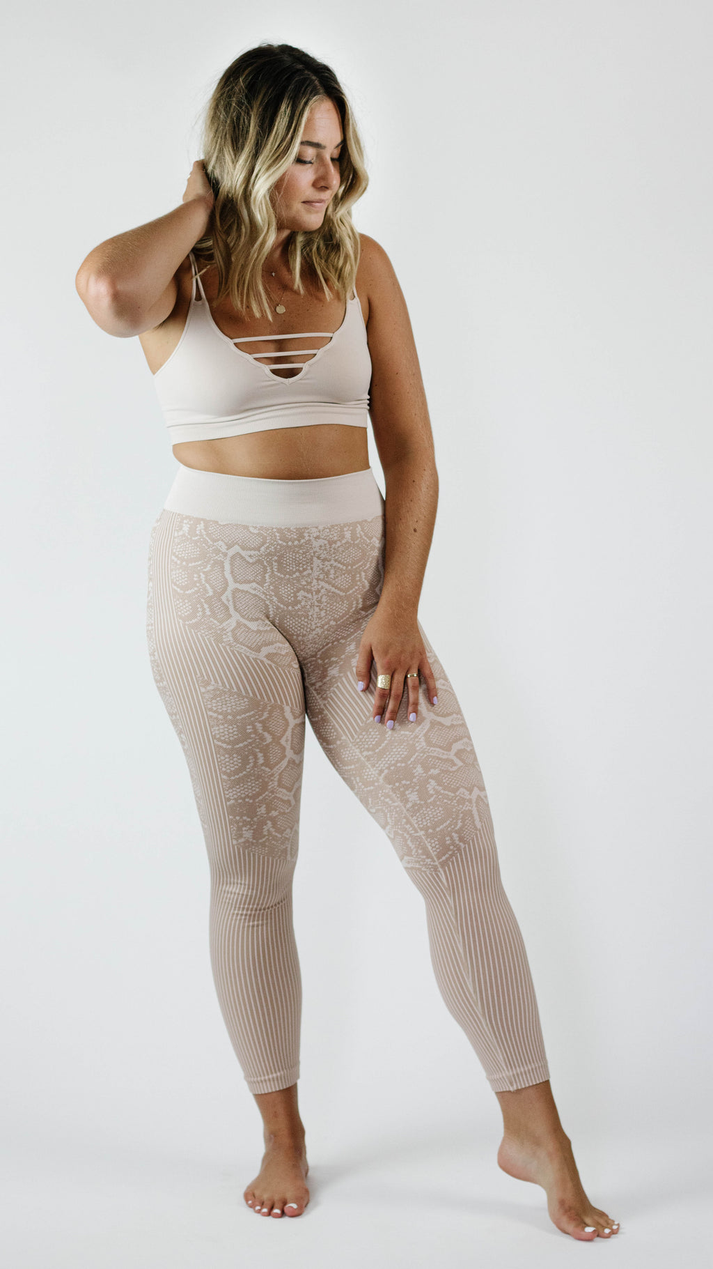 Untamable Snakeskin Legging — Latte
