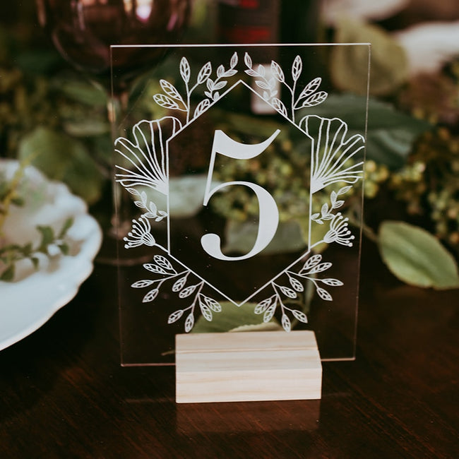 Set of Acrylic Table Numbers With Wood Holder