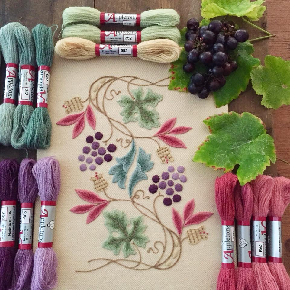 new concept 8ad13 7c9a3 Crewel Embroidery Kit Grapevine and Pippins