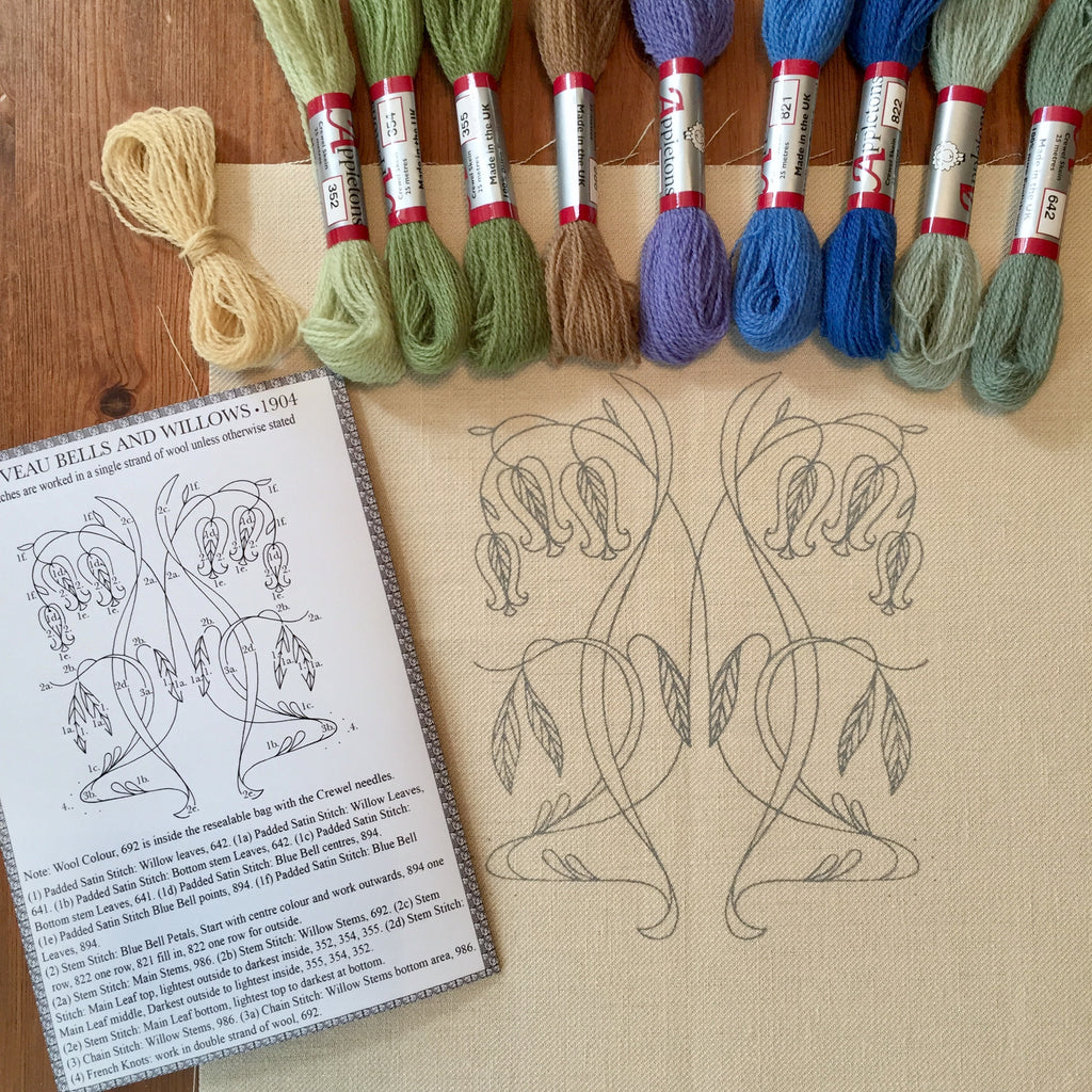 Crewel Embroidery Kit Nouveau Bells And Willows
