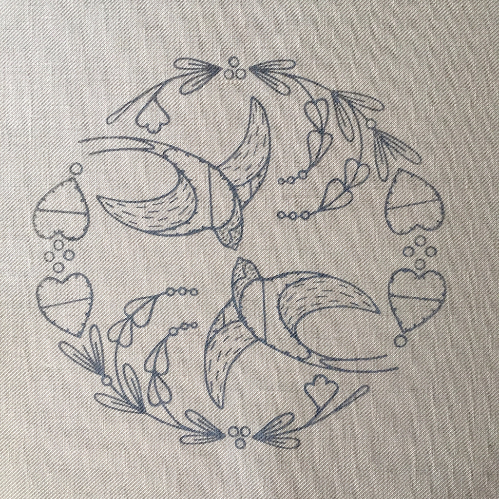 Printed Linen Twill, Swallows Flight