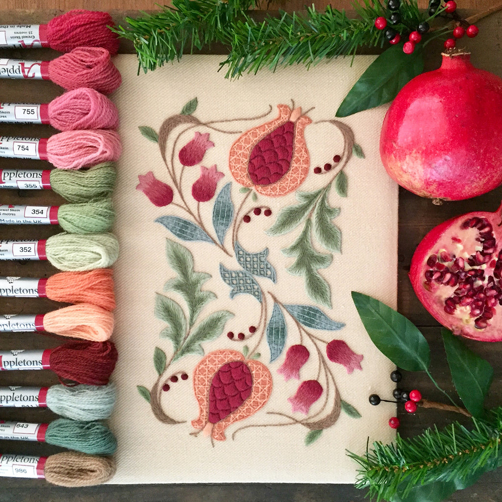 Crewel Embroidery Kit Pomegranates And Rowan