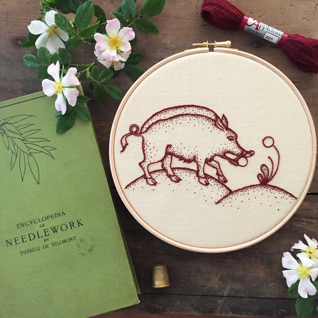 Heritage Boar Jacobean Crewel Embroidery Kit