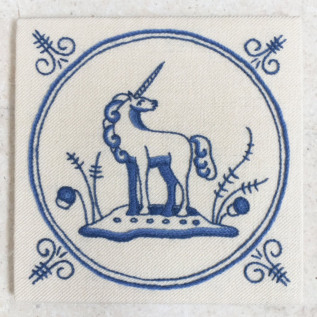 Heritage Range (Delftware) Unicorn Crewel Embroidery Kit