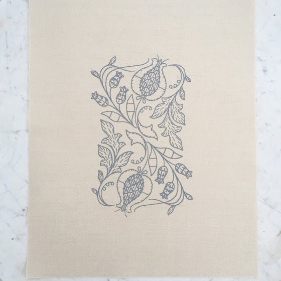 Printed Linen Twill, Pomegranates And Rowan