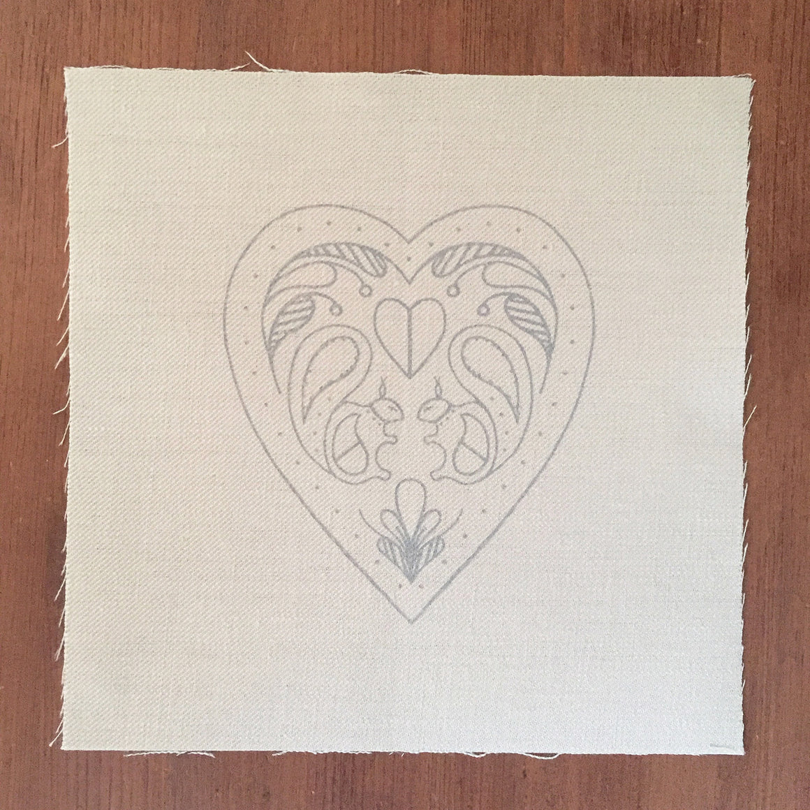 Printed Linen Twill, Hearts And Squirrels