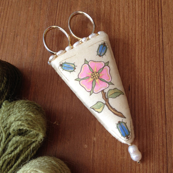 Embroidery Scissor Case Hand Painted With Real Pearls and Gold Beads