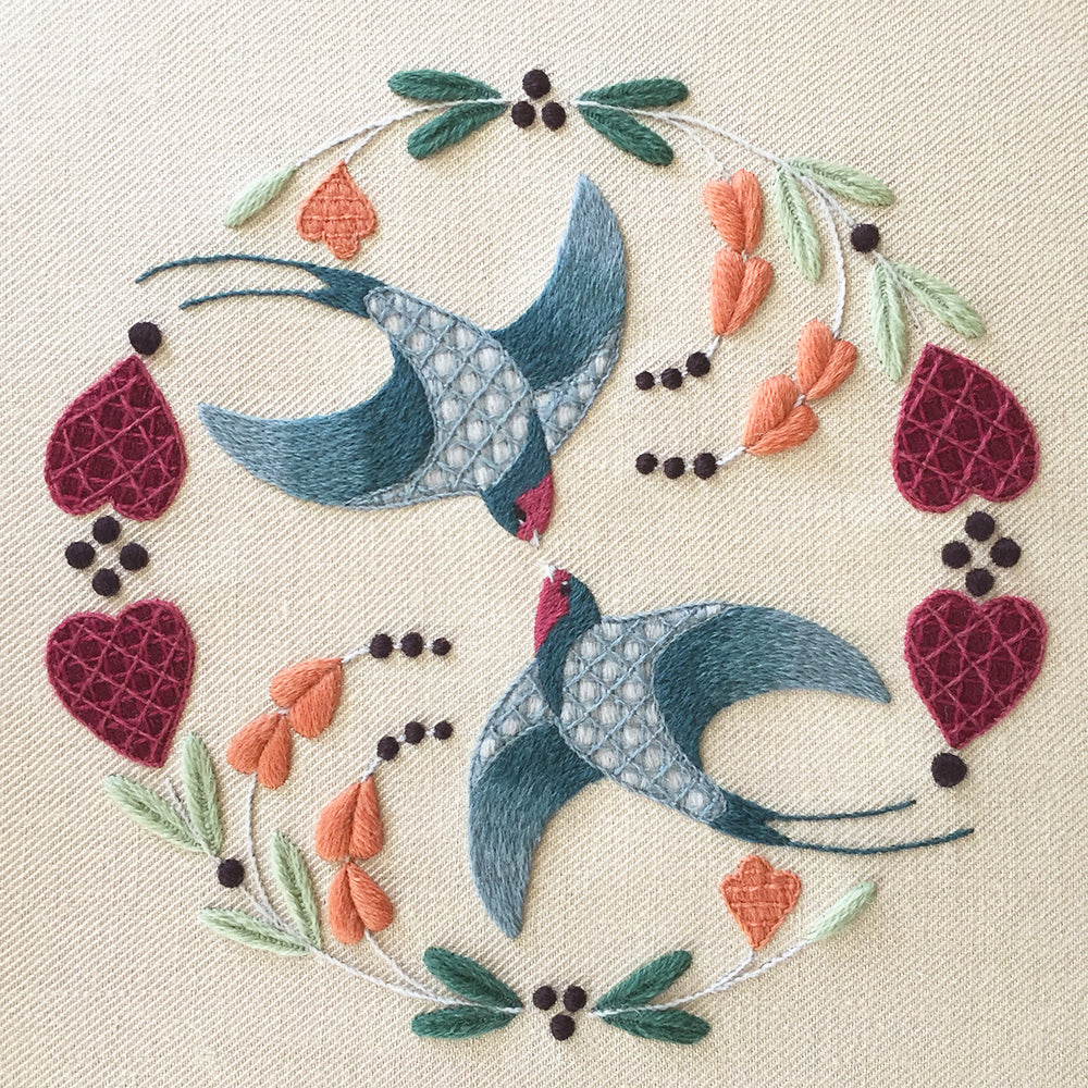 Crewel Embroidery Kit Swallows Flight