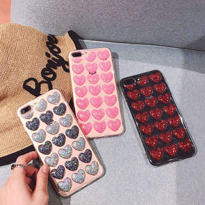 3D Glitter Heart Case for iPhone
