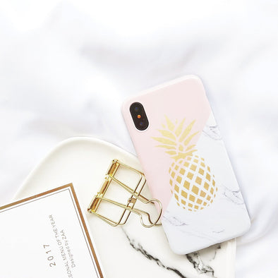 Golden Pineapple Marble Case for iPhone iPhone X