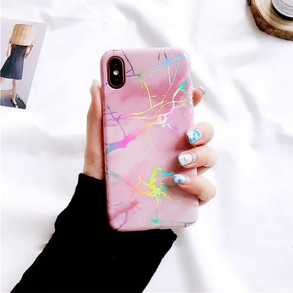 Holo Marble Case for iPhone Pink / iPhone X