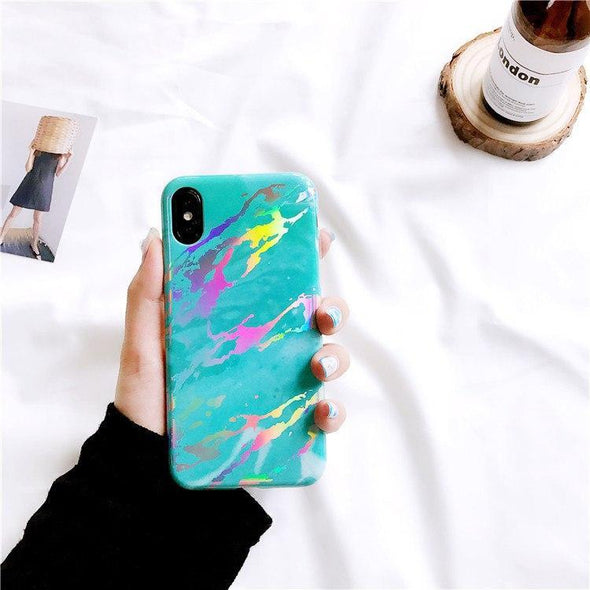 Holo Marble Case for iPhone Turquoise / iPhone X