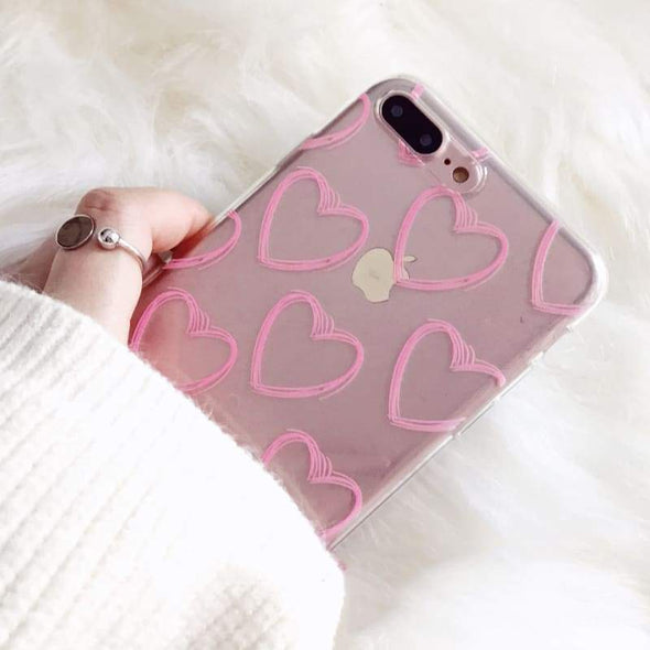 Pink Heart Transparent Case for iPhone