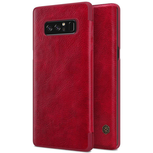 Vegan Leather Flip Case for Galaxy Note 8 Red