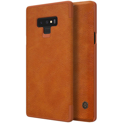 Vegan Leather Flip Case for Galaxy Note 9 Brown