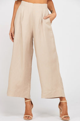 Wide-Leg Pleated Linen Pants
