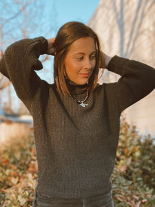 Terra Charcoal Dolman Sleeve Turtleneck Sweater
