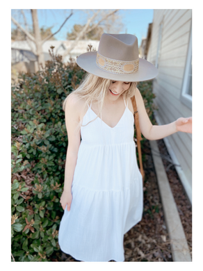 Golden Off White Tiered Dress