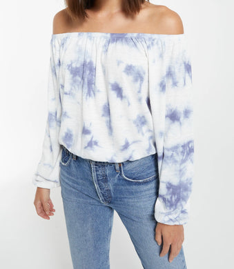 Z Supply Liv Cloud Navy Tie-Dye Top