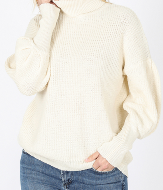 Terra Cream Puff Sleeve Turtleneck Sweater
