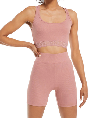 Z Supply Lounge Hailey Rib Bra Rose