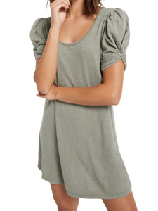 Z Supply Indi Sage Slub Puff Sleeve Dress