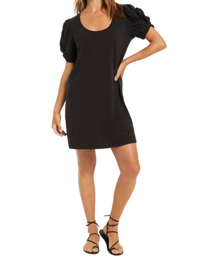 Z Supply Indi Black Slub Puff Sleeve Dress