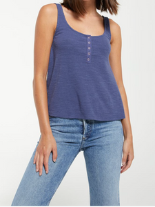 Z Supply Teagan Henley Navy Tank